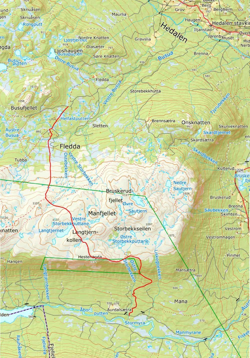 Stien anmerket på kartet